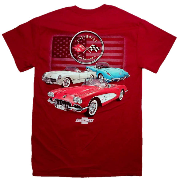 Joe Blow T's C1 Corvettes With Flag Men's Adult T-Shirt