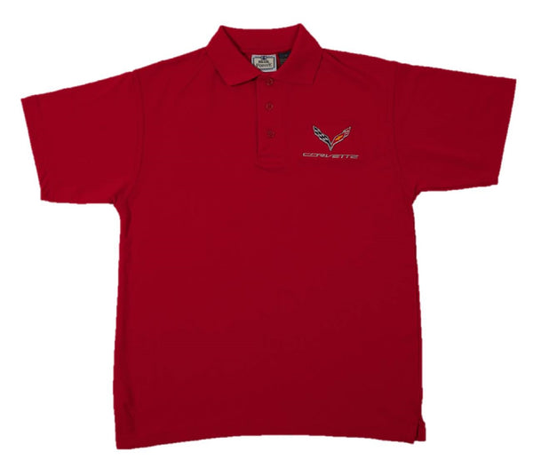 Men's Corvette C7 Logo Short Sleeve Performance Polo Shirt