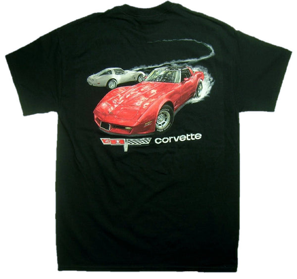 Chevy Fast Lane 1980 Corvette 100% Cotton Graphic Print Short Sleeve T-Shirt
