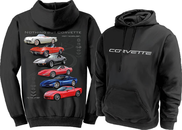 """NOTHING BUT CORVETTE"" C6 Logo 50/50 Cotton/Polyester Pullover Hoodie Sweatshirt"