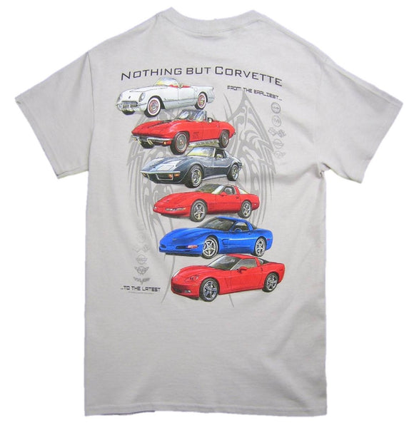 """NOTHING BUT CORVETTE"" Ice Grey 100% Cotton Short Sleeve Graphic Print T-Shirt"
