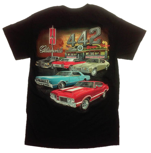 442 Oldsmobile Cutlass Multi Car Diner 100% Cotton Adult T-Shirt by Joe Blow