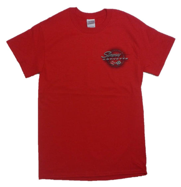 Gildan Men's Corvette C3 Stingray with Barbed Wire T-Shirt, Small, Red