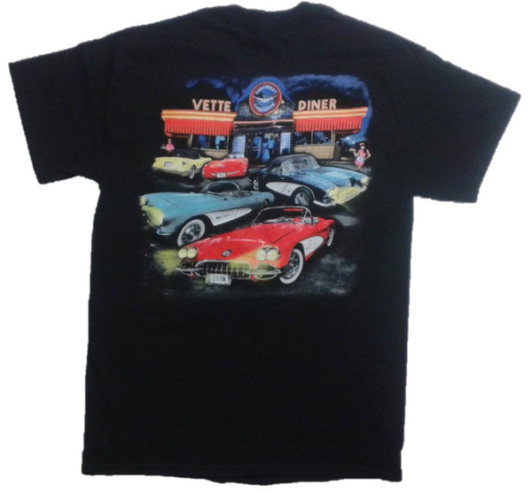 Chevrolet Corvette Retro Vette Diner Graphic Print Short Sleeve T-Shirt