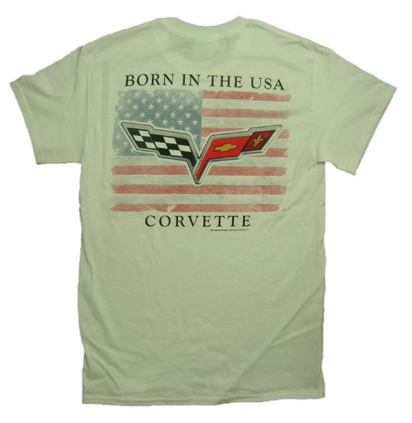"Chevy Corvette C6 Logo ""BORN IN THE USA"" Graphic Print Short Sleeve T-Shirt"