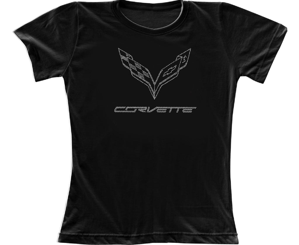 Corvette C7 Flag with Silver Dots 100% Cotton Ladies Short Sleeve Black T-Shirt