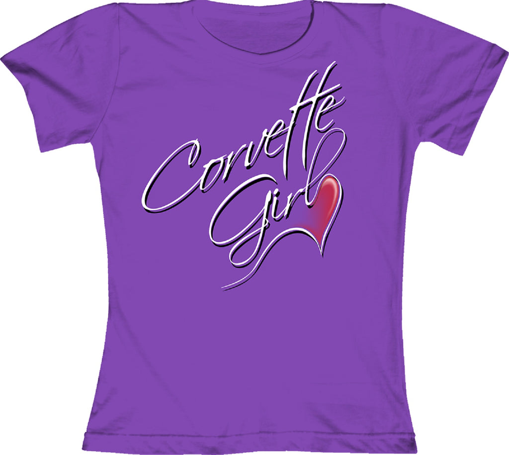 "Chevy ""Corvette Girl"" Ladies Fashion Jersey 100% Cotton Short Sleeve T-Shirt"