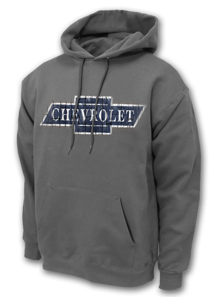 Chevy Bowtie Wood Logo 50/50 Cotton/Polyester Pullover Hoodie Sweatshirt