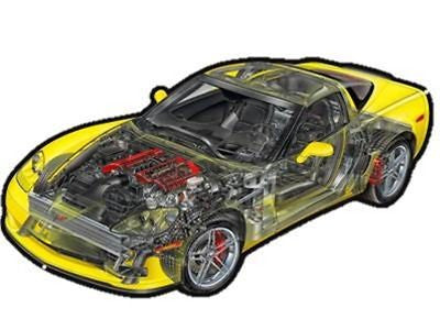 Corvette C6 Z06 Cutaway View Digitally Printed and Laser Cut Aluminum Metal Sign