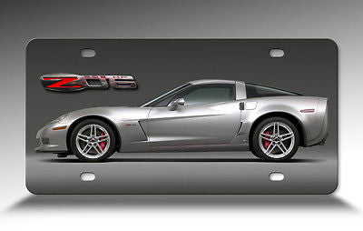 Corvette Silver C6 Z06 Digitally Printed Aluminum Sheet Front License Plate Sign