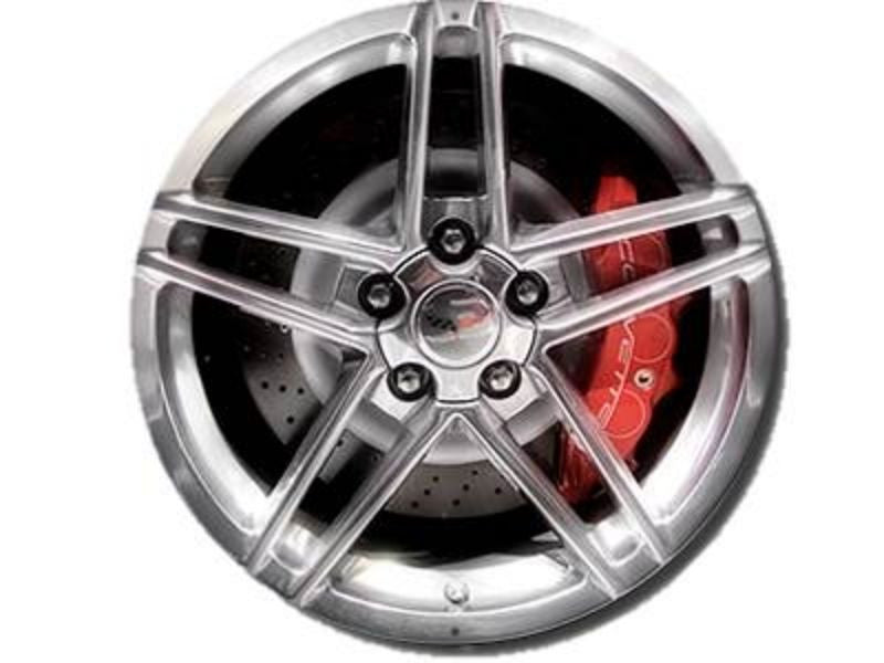 Corvette C6 Z06 Style Wheel Image Showing the Red Caliper on an Aluminum Sign