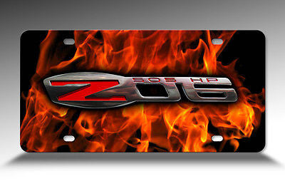 Corvette C6 Z06 Logo over Flame Background Aluminum Sheet License Plate Sign