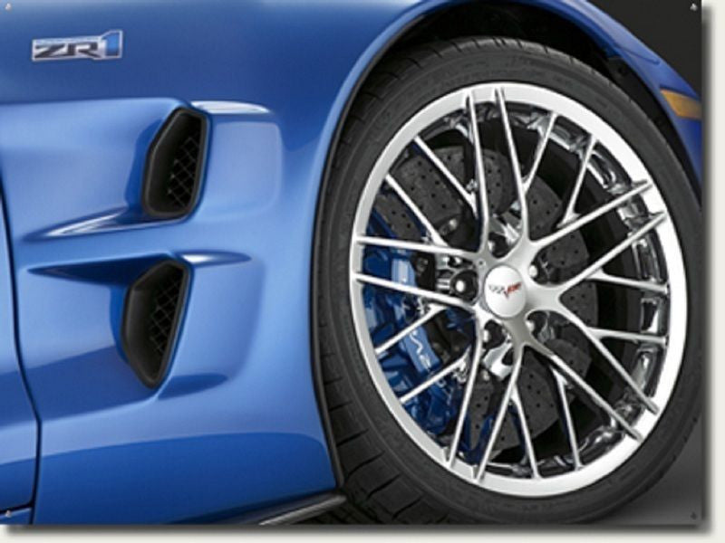 Image of a Blue Corvette C6 ZR1 Wheel Digitally Printed onto an Aluminum Sign