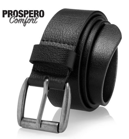 Prospero Comfort Men's Casual Jean Belt, Super Soft Full Grain Leather, Black, Brown, Tan