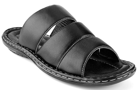 Prospero Comfort Men's Open Toe Sandals Top Grain Leather Soft Cushion Footbed Stripes Design Black Brown Tan Sizes 7-13