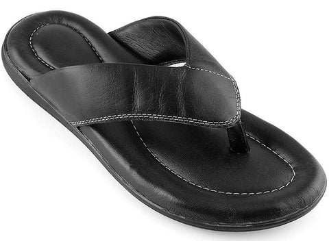 Prospero Comfort Mens Flip Flop Top Grain Leather Soft Cushion Footbed Sandals Black Brown Tan Sizes 7-13