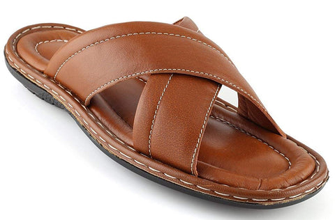 Men's Open Toe Sandals Top Grain Leather Soft Cushion Footbed Elegant X Design Black Brown Tan Sizes 7-13