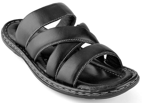 Prospero Comfort Men's Open Toe Sandals Top Grain Leather Soft Cushion Footbed Twisted Design Black Brown Tan Sizes 7-13