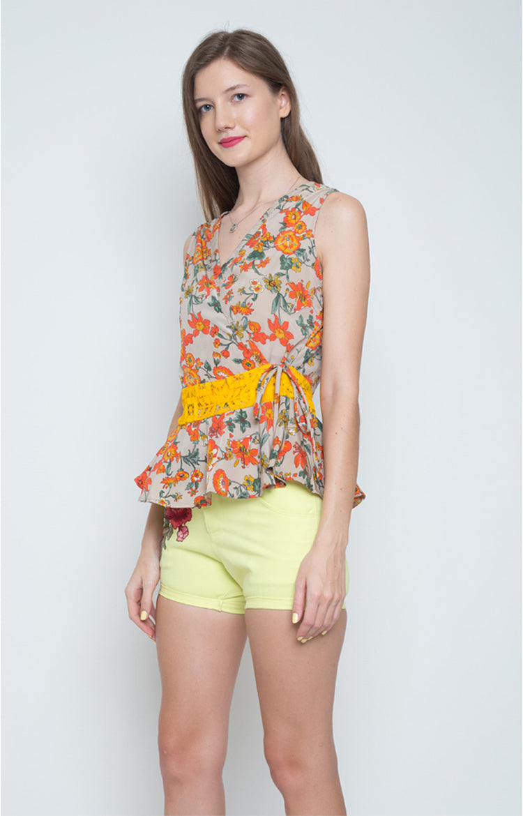 Amalia Flounce Wrap Top in Orange