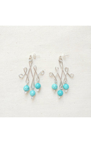 Silver Celtic Wire Earrings - Turquoise