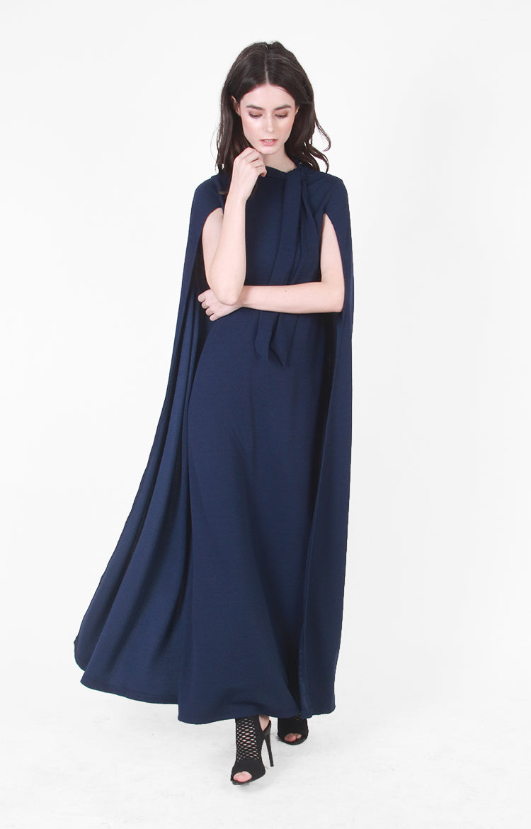 Sasha Cape Gown in Navy