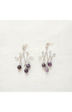 Silver Celtic Wire Earrings - Amethyst