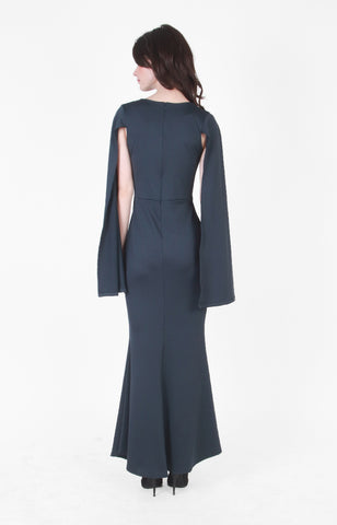 Megan V-neck Gown in Navy