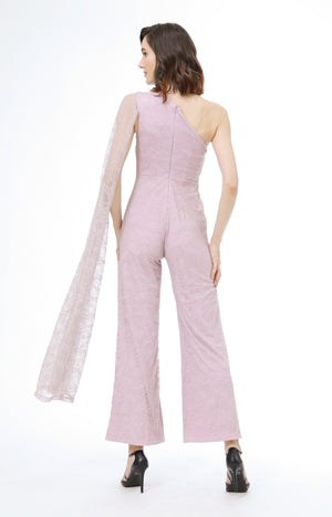 Viktoria One Shoulder Jumpsuit in Lavender Lace