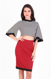 Aliah Crop Set in Stripe/ Red