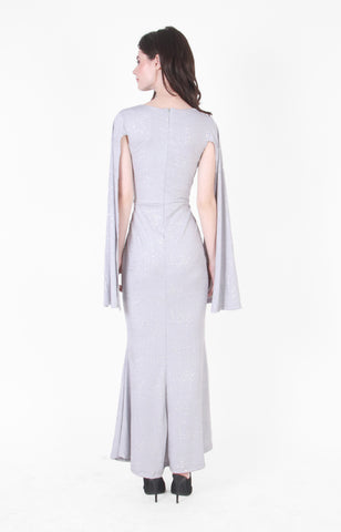 Megan V-Neck Gown in Silver