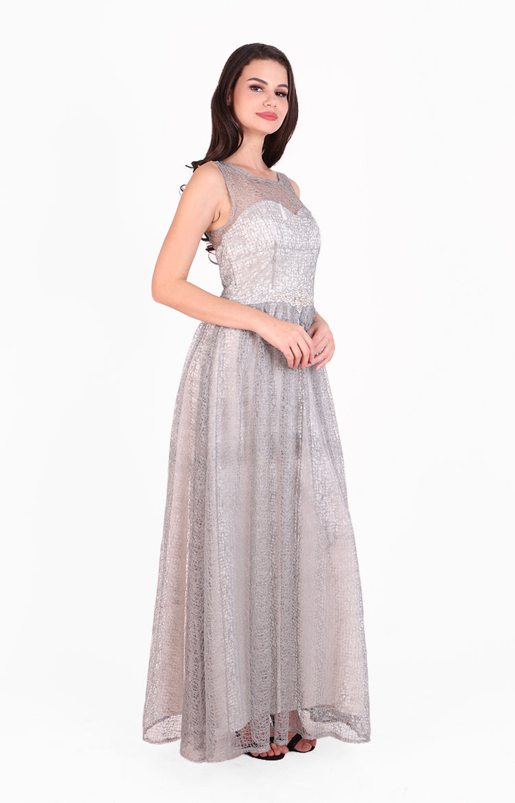 Kianna Gown in Silver Lace