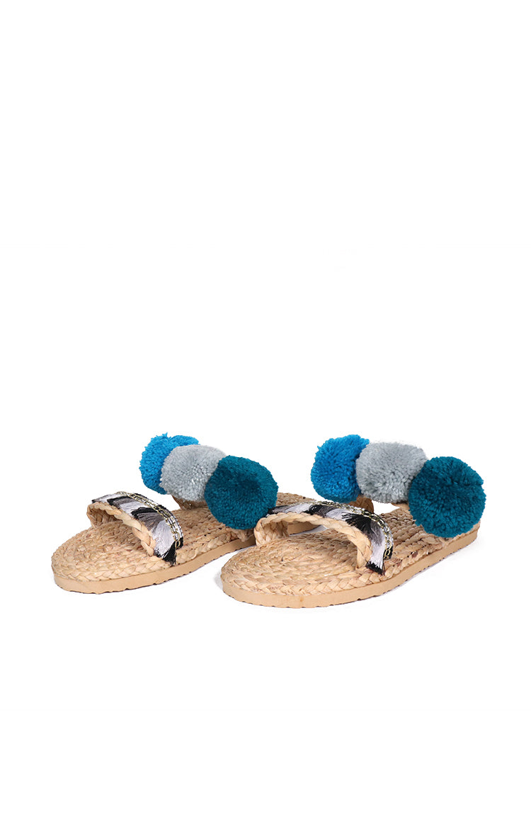 Pompom Flats in Blue