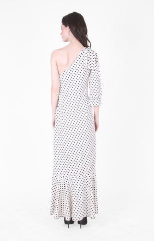 Liz One Shoulder Ruffle Maxi Dress in Polka Dot