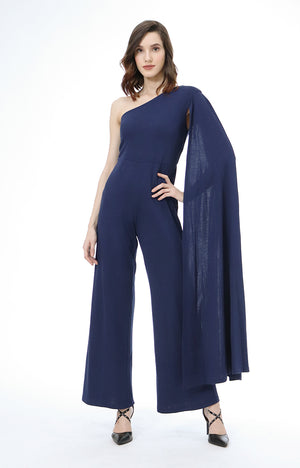 Viktoria One Shoulder Jumpsuit in Navy Blue