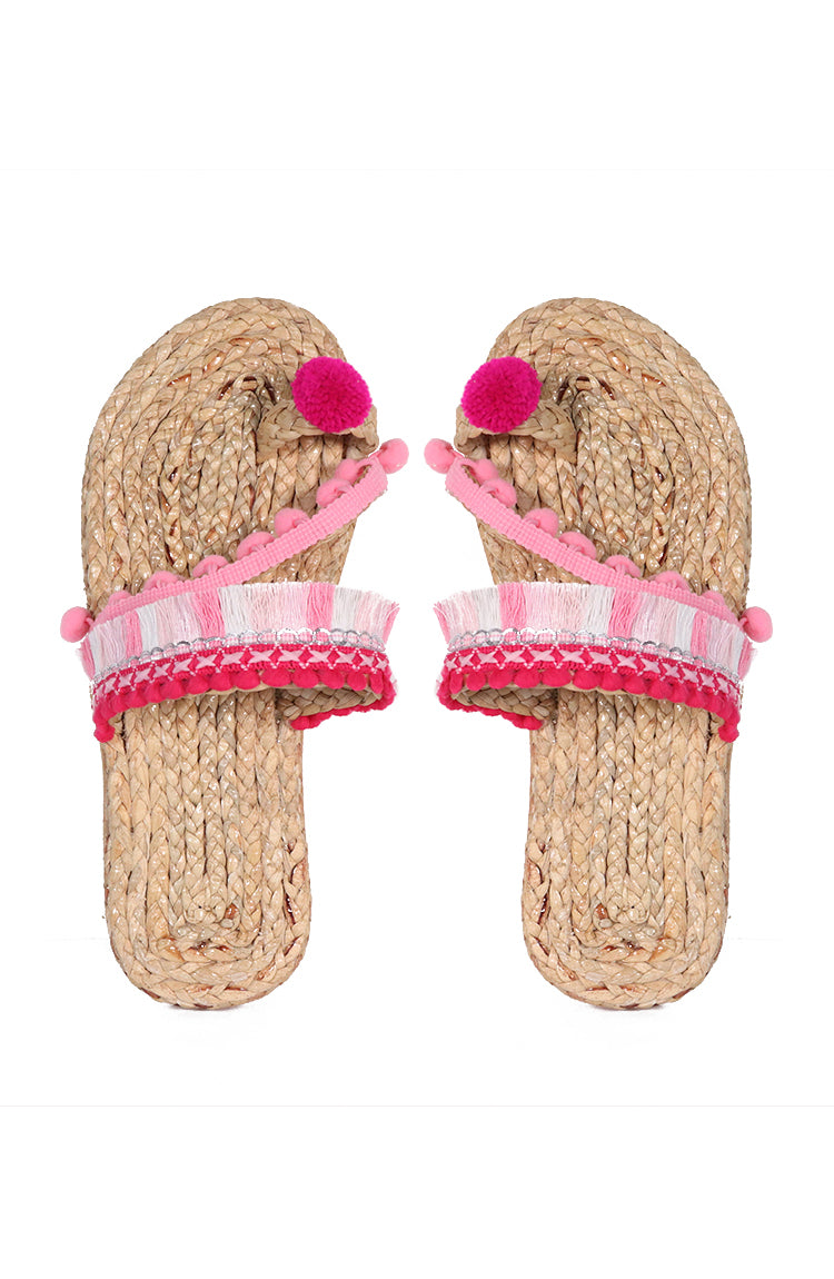 Pompom Flats in Pink