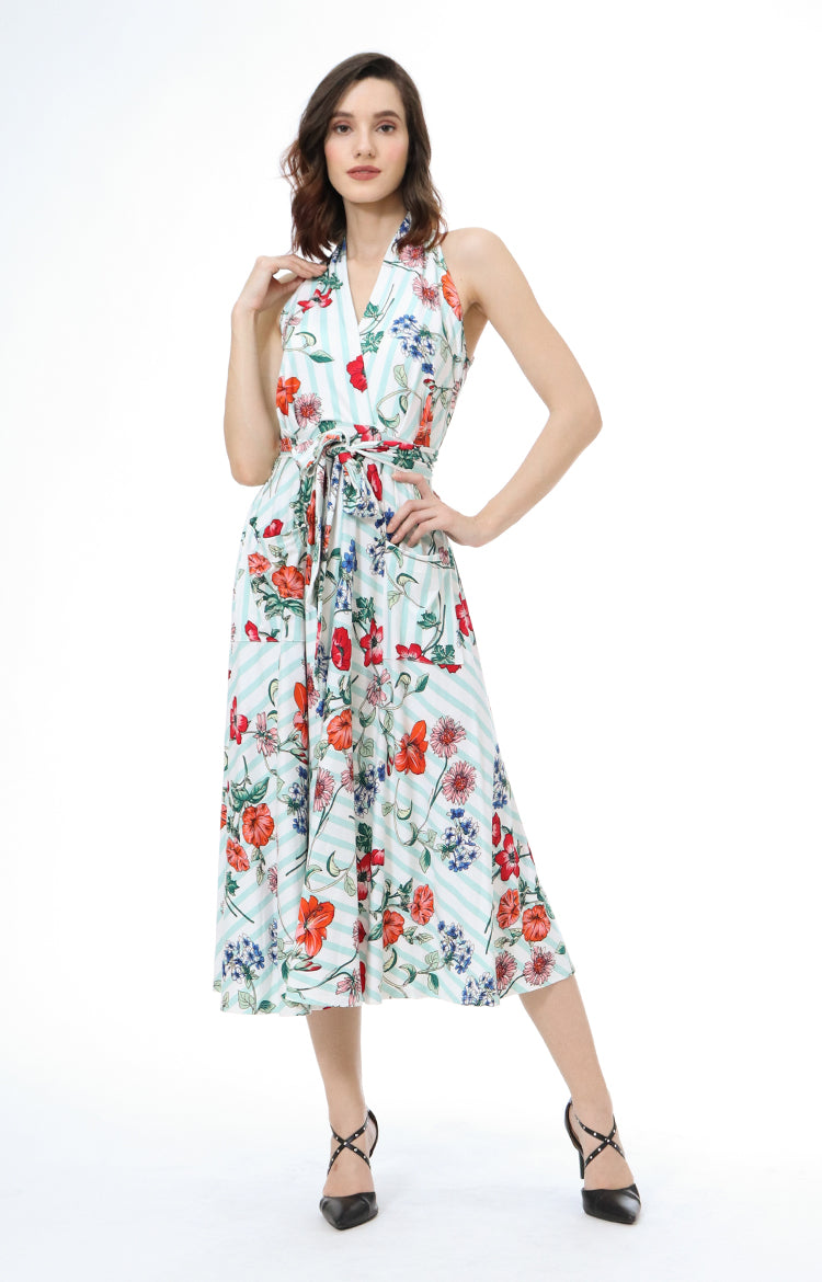 Ygritte Floral Striped Halter Maxi Dress in Aqua
