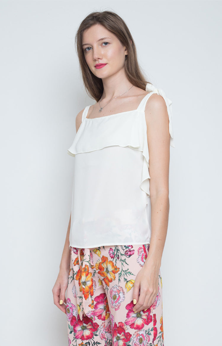 Leira Flounce Top in White