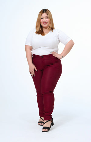 Joan Maroon Plus Size Wear to Work Pants