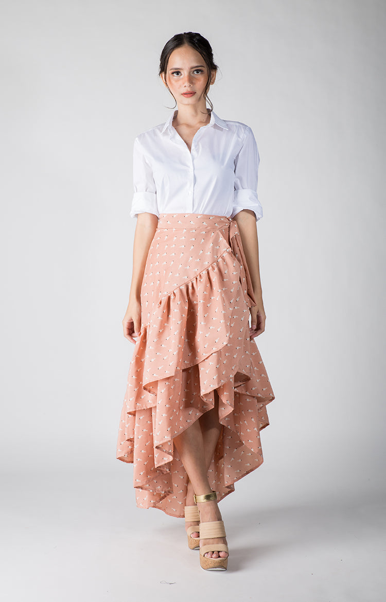 Daina Skirt-Light Pink Printed