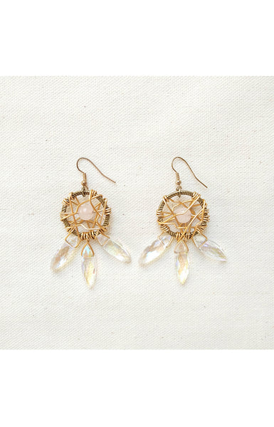 Dreamcatcher Earrings in Rose Quartz
