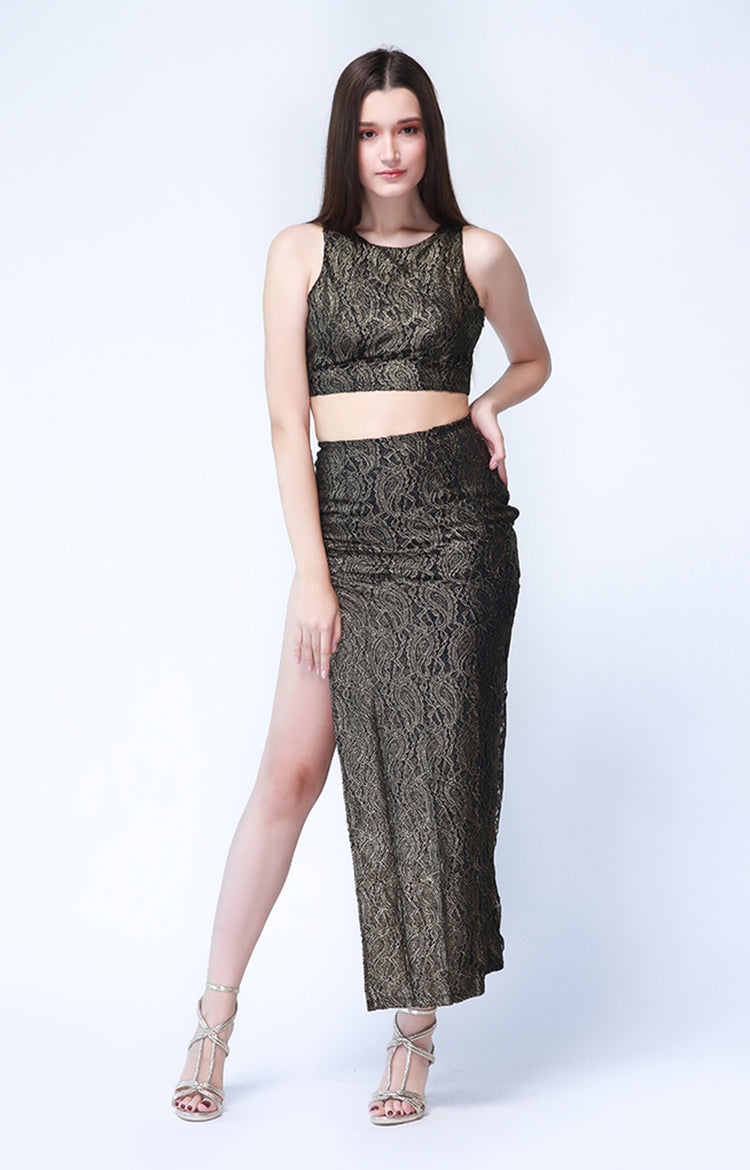 Hollywood Crop Set in Black and Gold Lace
