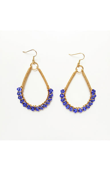 Blue Teardrop Wire Wrapped Earrings