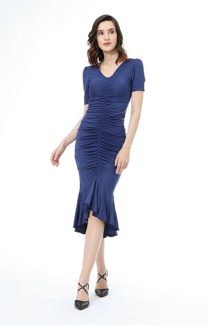 Dana V-Neck Shirred Dress in Blue