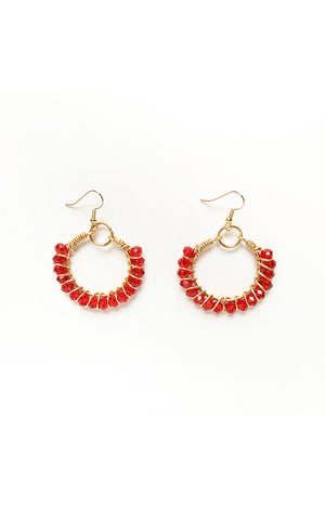 Summer Wire Hoops - Ruby
