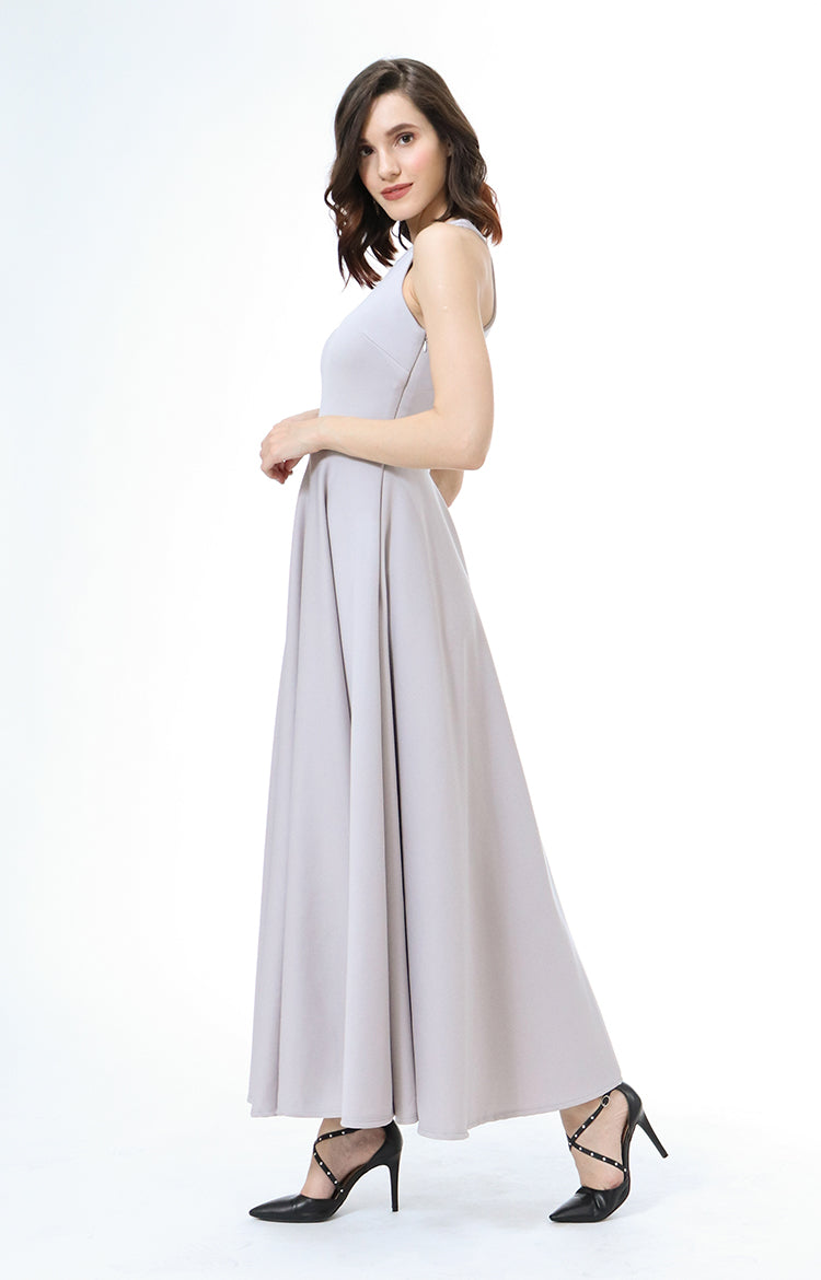 Parisienne Halter Formal Dress in Grey