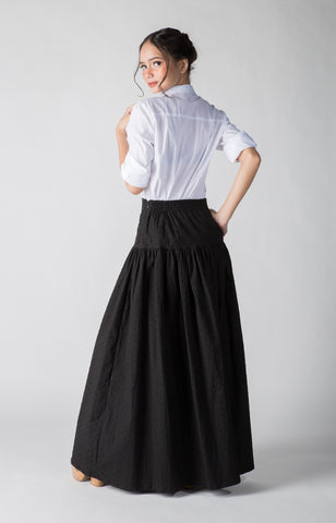 Vera Skirt- Textured Plain Black