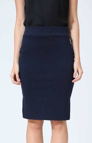 Joan Navy Pencil Skirt with Side Slit
