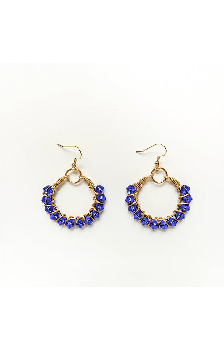 Summer Wire Hoops - Ocean Blue