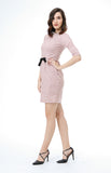 Audrey Boat Neck Quarter Sleeve Dress in Pink