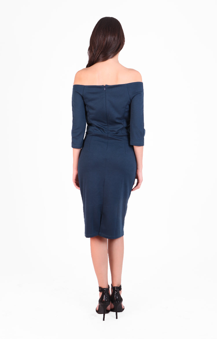 Giovanna Dress in Navy Blue